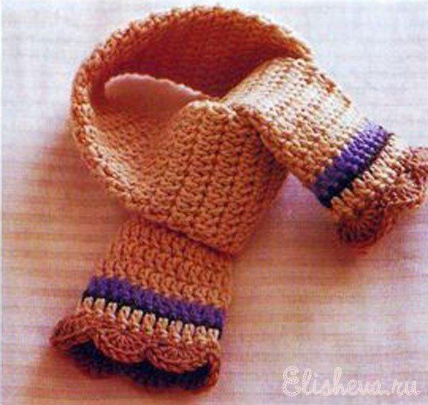 Как крючком связать шарф для ребенка