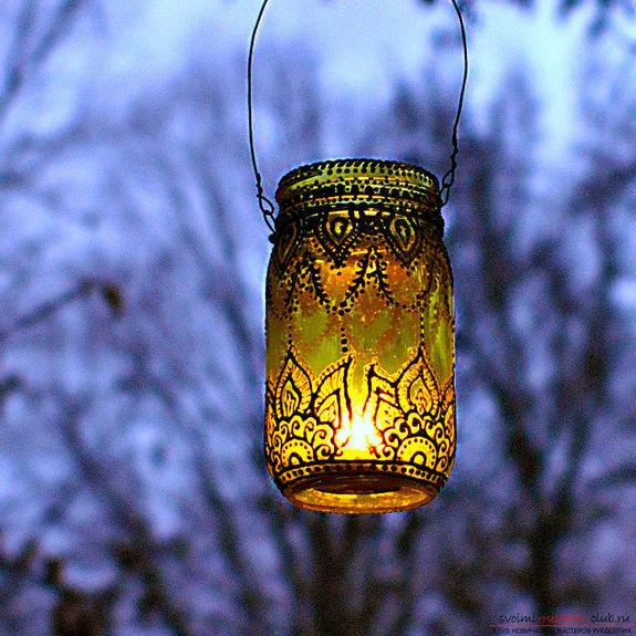 Садовый фонарь из стеклянной банки 47