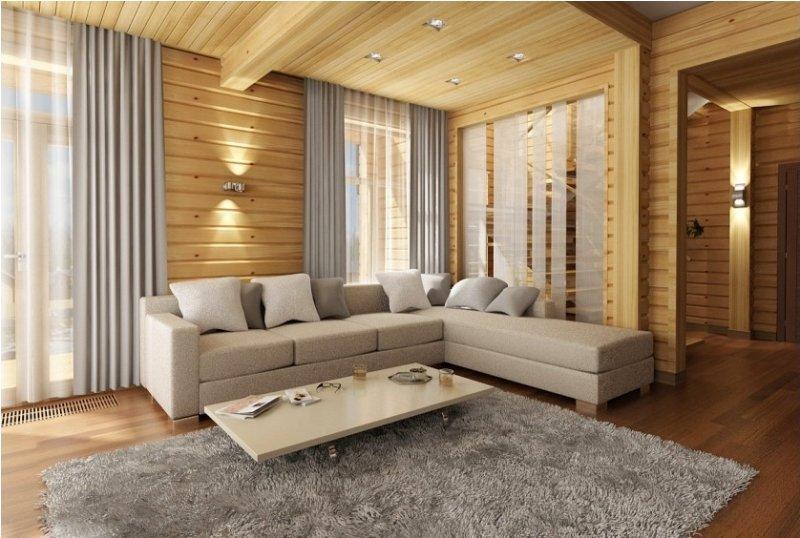 Фото Дизайн интерьеров домов из бруса 45