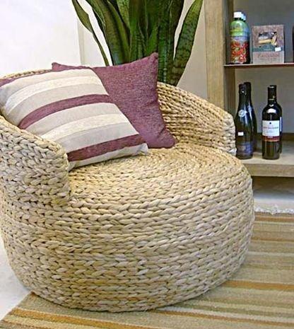 Плетеное кресло из подручных материалов