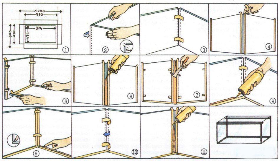 Аквариум своими руками в домашних условиях из стекла 82
