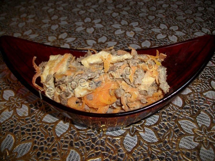 Салат из печени блинами