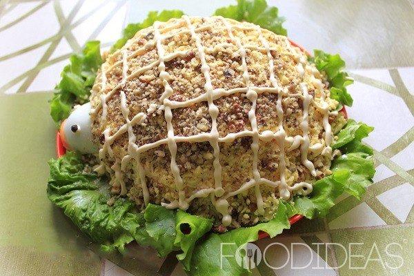 Салат черепаха рецепт с рыбой с грецкими орехами