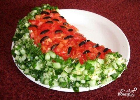 Салат арбузная долька рецепт с с корейской морковью