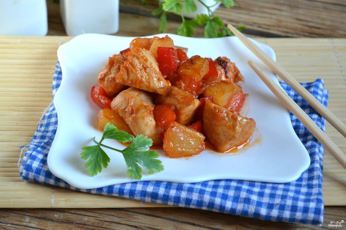 Курица в кисло-сладком соусе пошаговый рецепт с фото