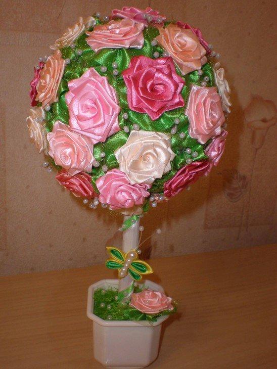 Цветы в горшочках из атласных лент своими руками