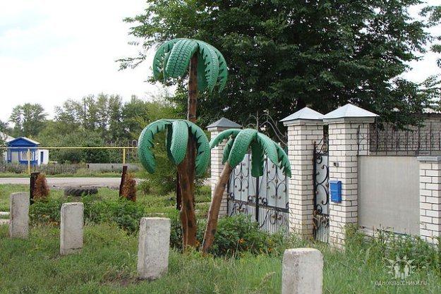 Пальма из покрышек своими руками
