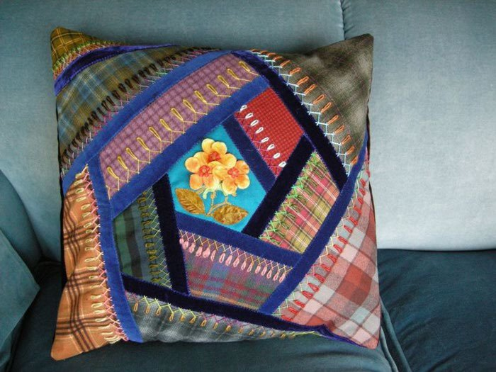 Сшить наволочку на подушку из кусков ткани 20