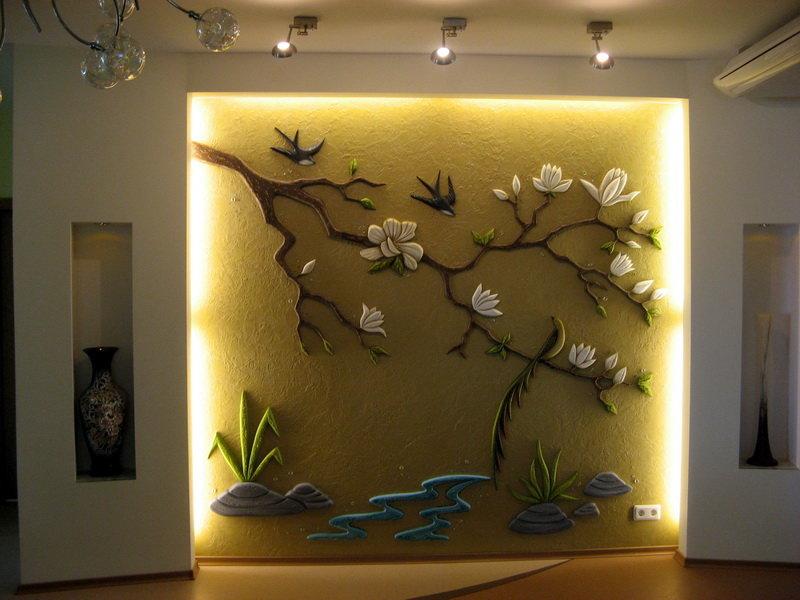 Декор своими руками из гипсокартона на стенах 444