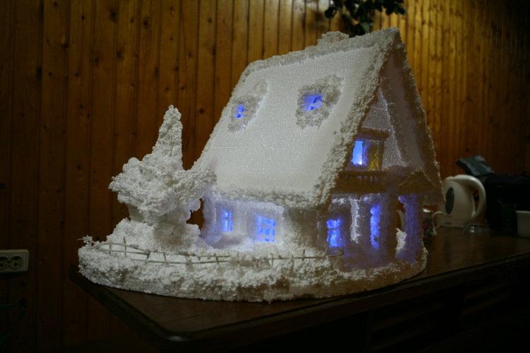Как сделать поделку домик из пенопласта 8