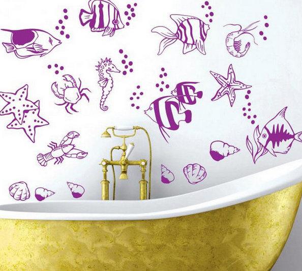 Трафарет для декора ванной своими руками