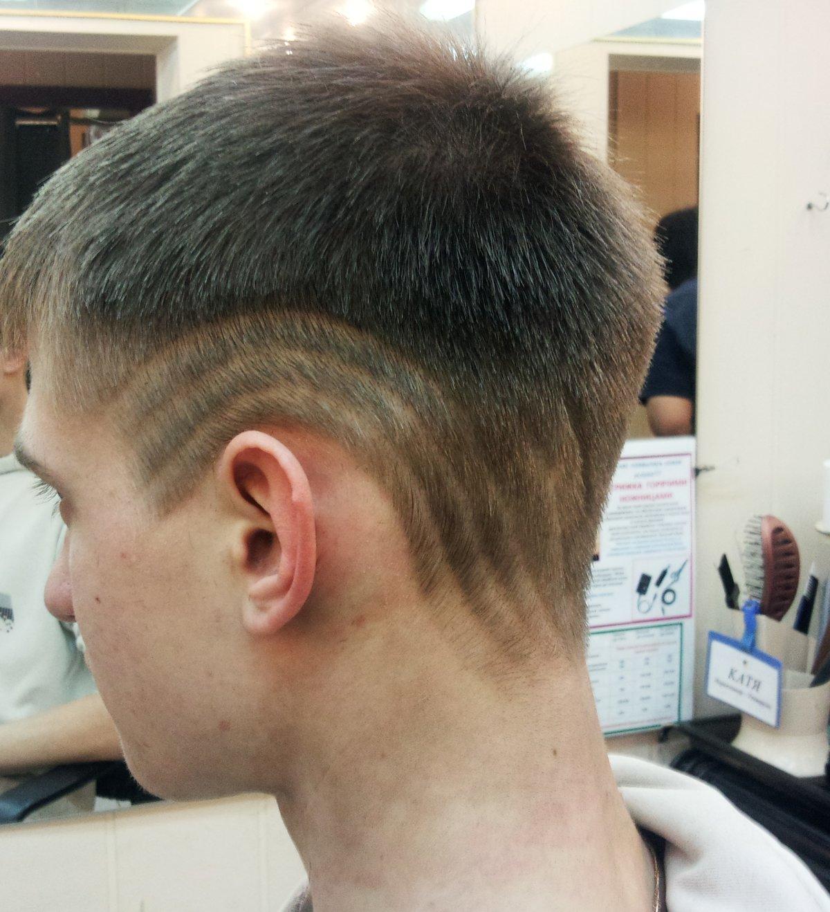 Стрижки узоры на голове фото
