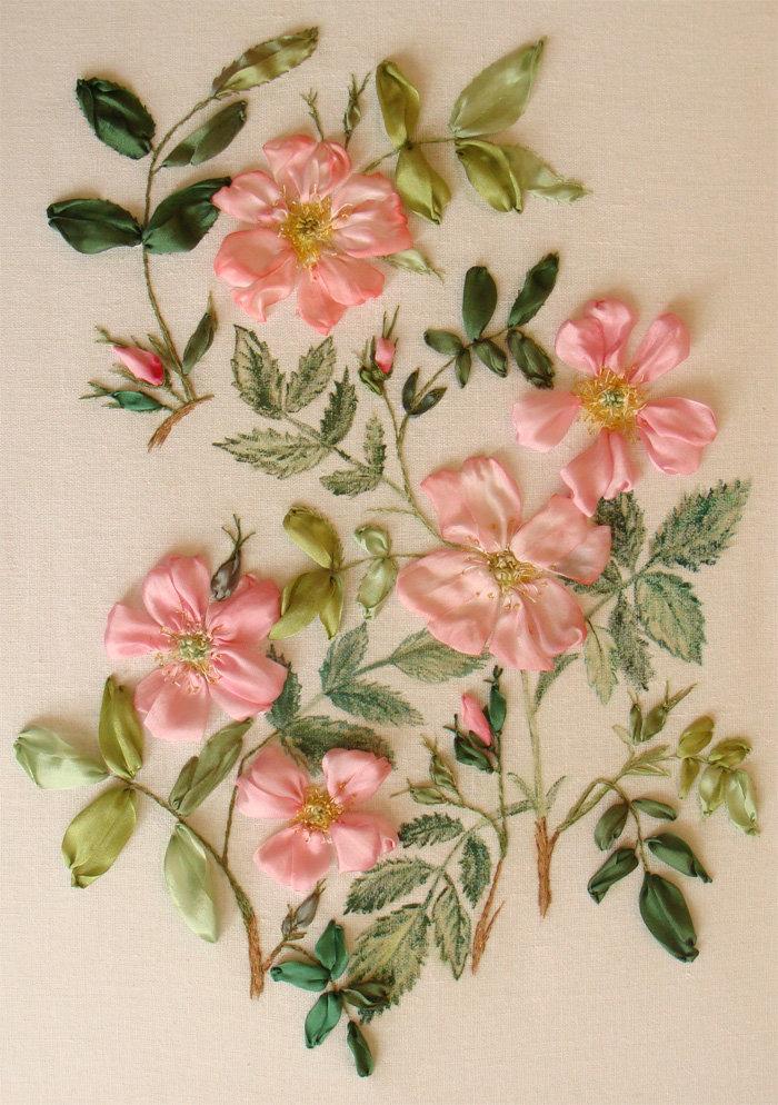 Принт для вышивки лентами розы 353