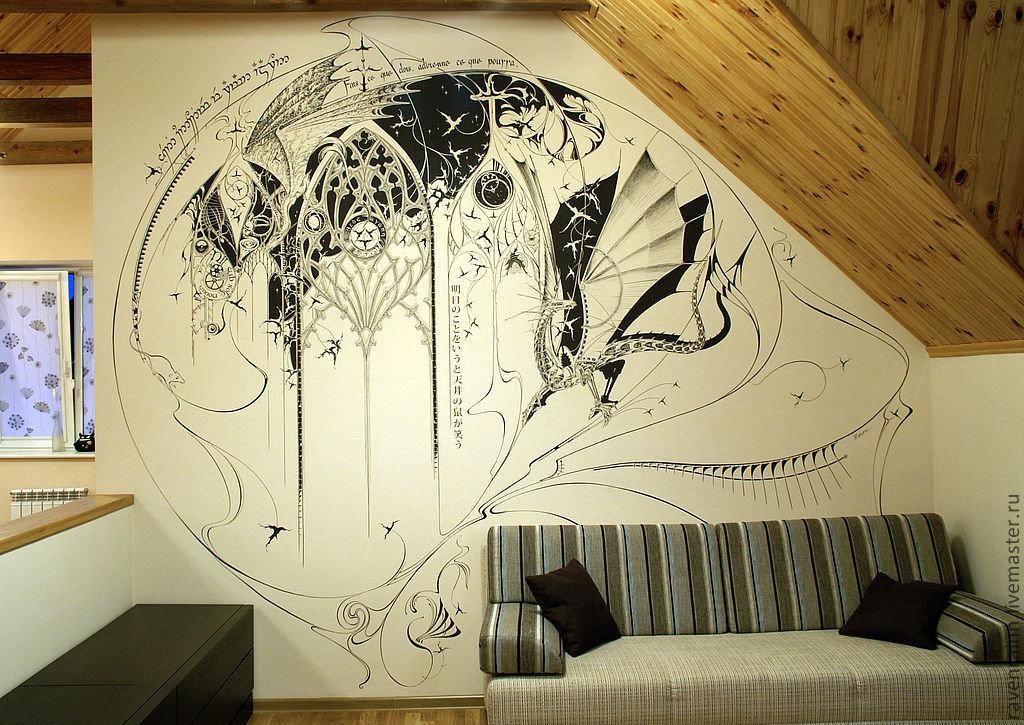 Роспись на стенах в интерьере своими руками 88