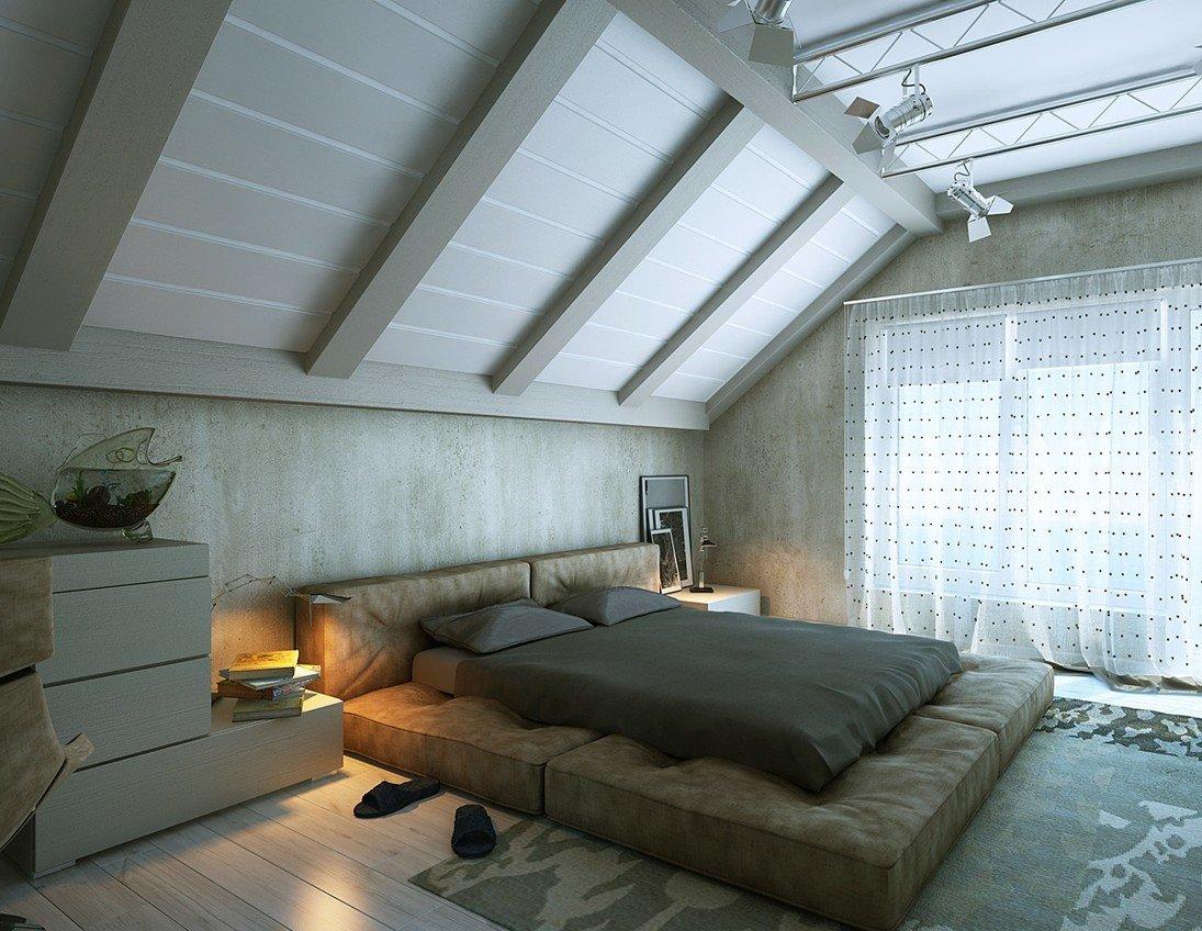 Дизайн спальни на мансарде 2018