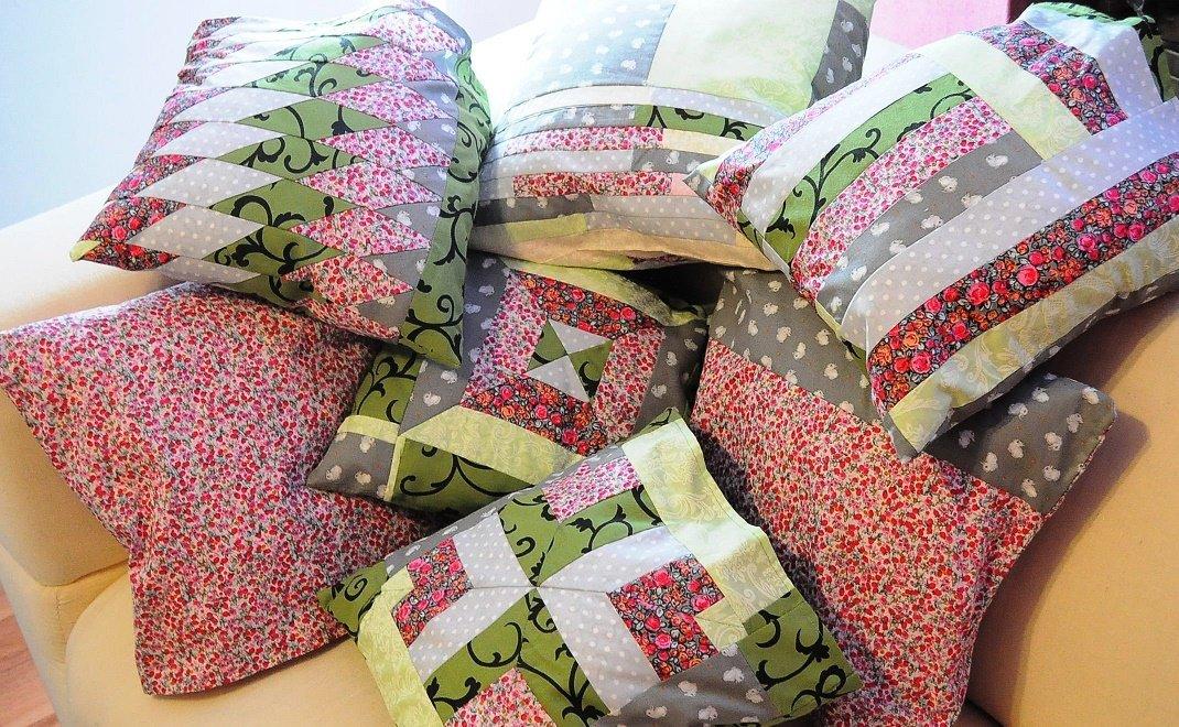Сшить наволочку на подушку из кусков ткани 94