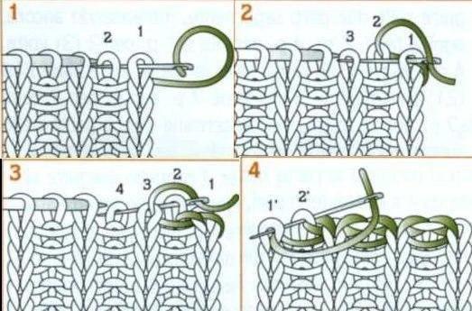 Закрытие петель резинки 1х1 при круговом вязании 24