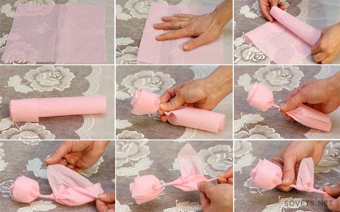 Как сделать розу из салфеток пошагово