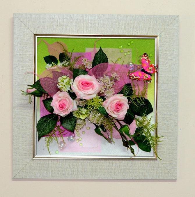 Картины из искусственных цветов своими руками мастер класс 20