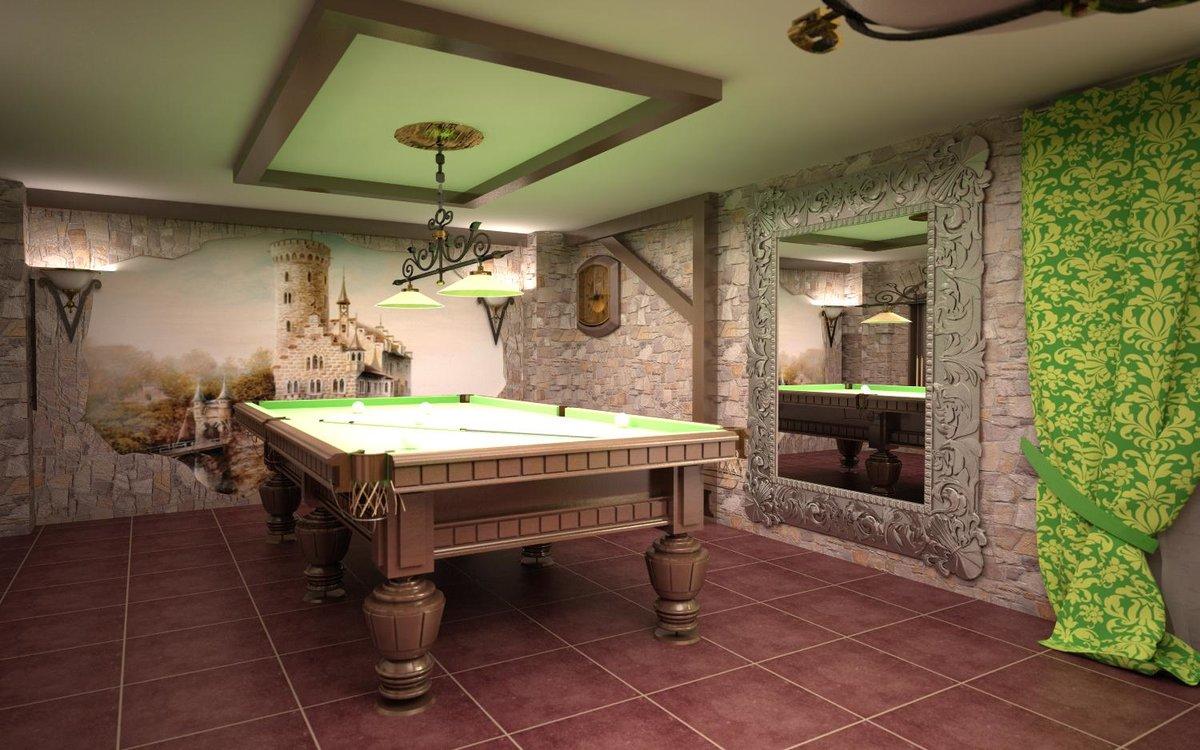 Интерьер бильярдной комнаты в частном доме фото