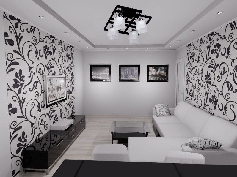 Интерьер гостиной фото черно-белый