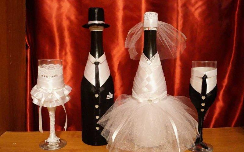 Украшение бутылок для свадьбы