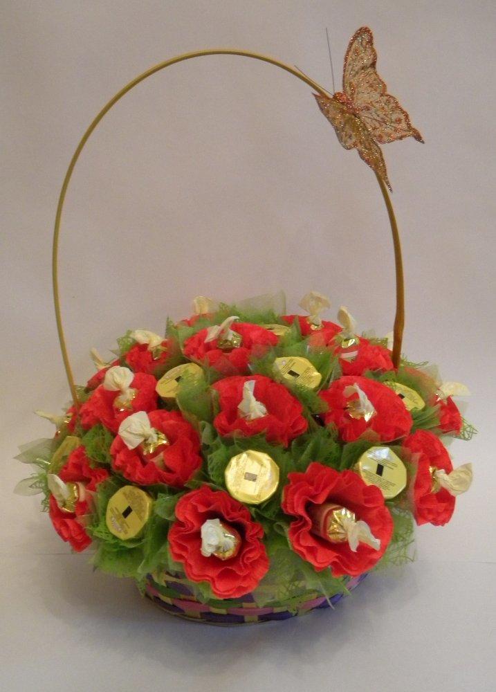 Фото букет из цветов и конфет своими руками
