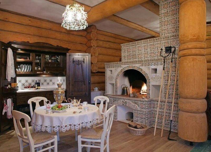 Ремонт кухни в деревенском доме своими руками с печкой 58