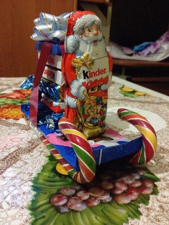 Новогодние подарки детям из конфет своими руками