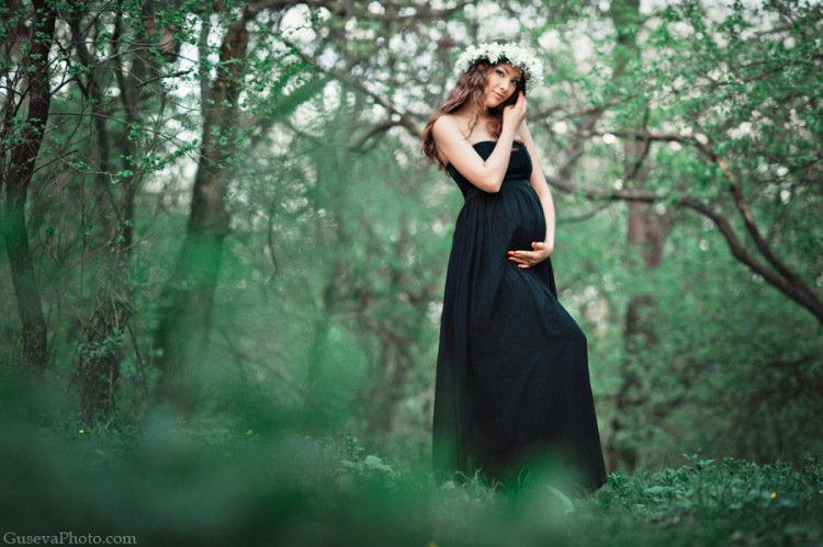 Фотосессия беременная в черном платье 5
