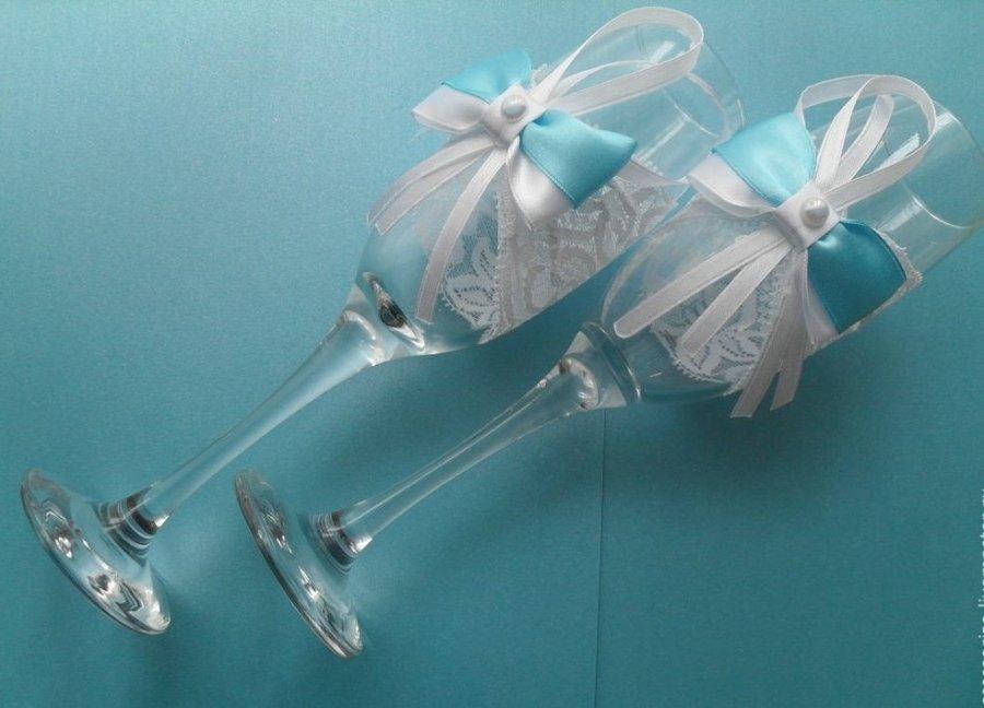 Декор бокалов лентами на свадьбу своими руками 37