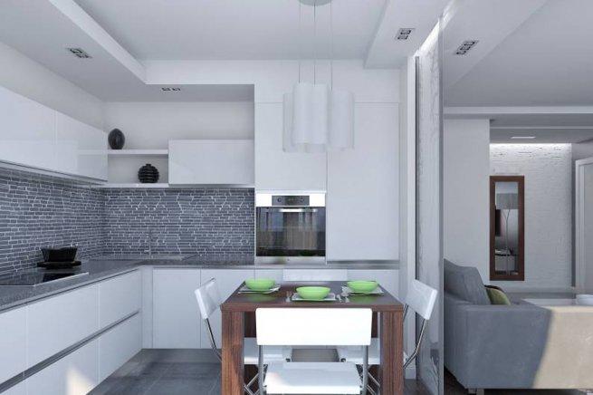 Кухня в серо-белых тонах дизайн