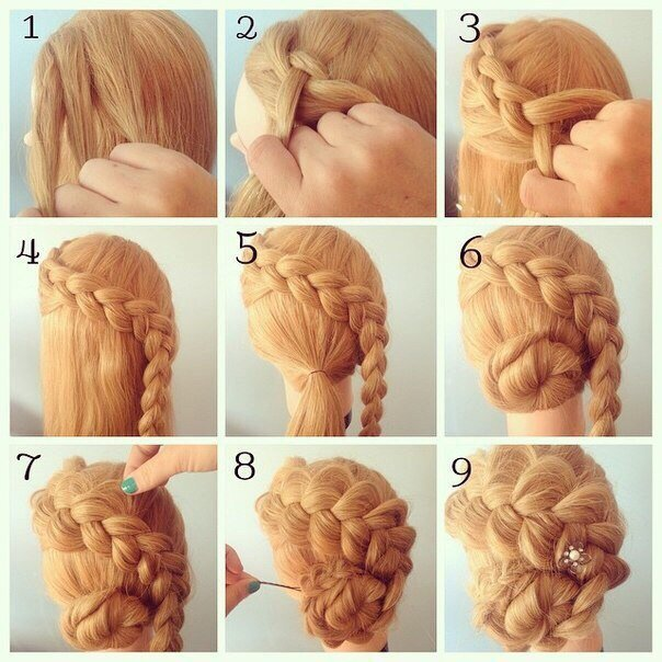 Как самой заплести на средние волосы