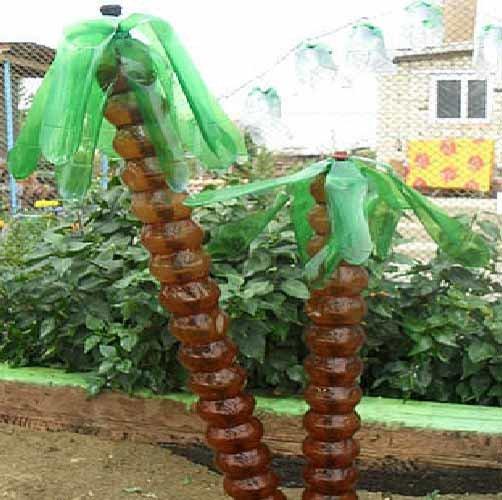 Пальмы из пластиковых бутылок своими руками на дачу