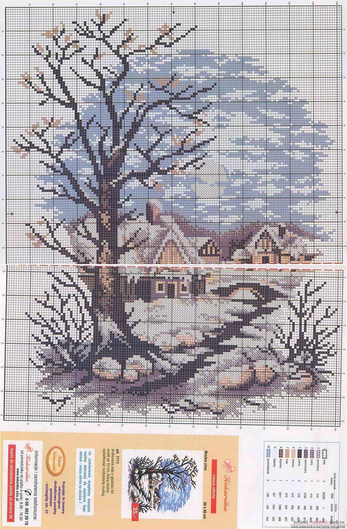 Вышивка крестом схемы бесплатно пейзажи больших размеров: зимний 48