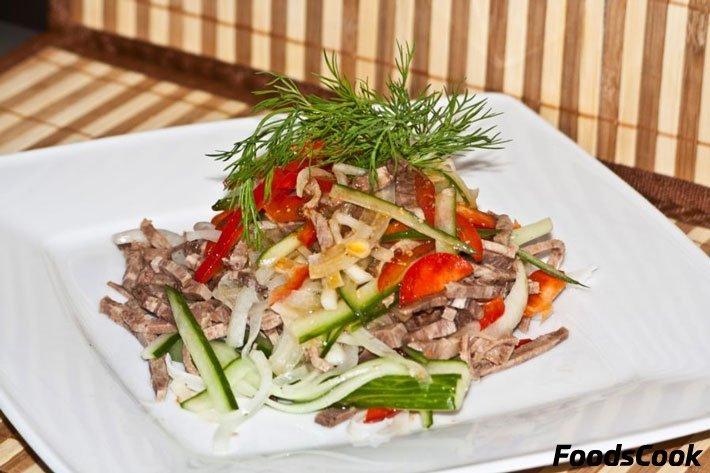 Салат с свиным языком и болгарским перцем рецепт с