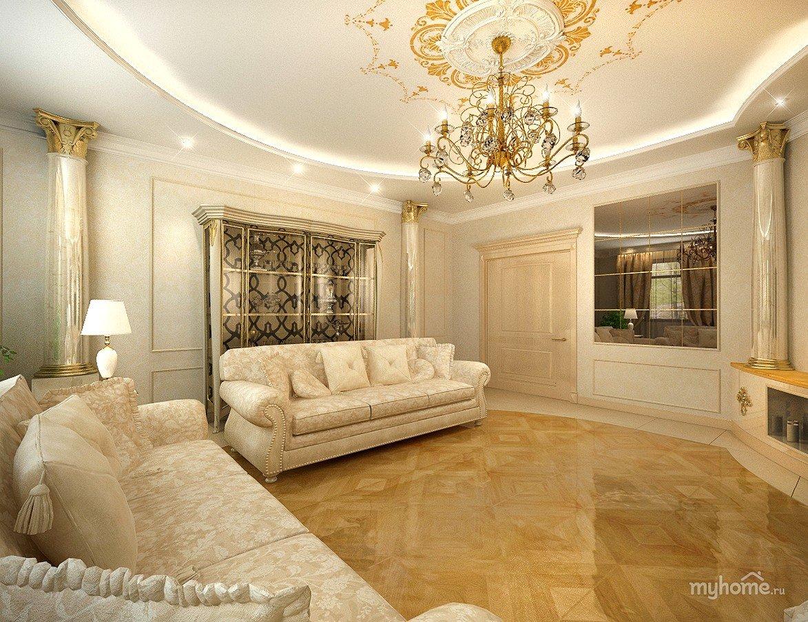 Оттенки золота в дизайне гостиной-столовой 60