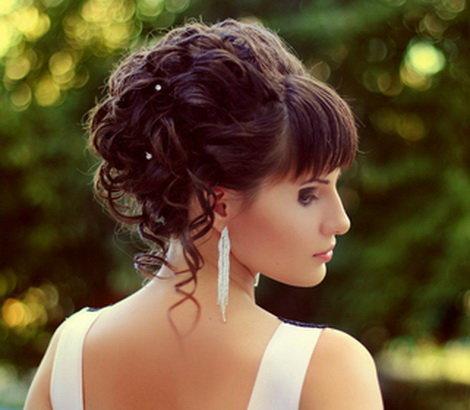 Вечерняя прическа на средние волосы с челкой своими руками видео