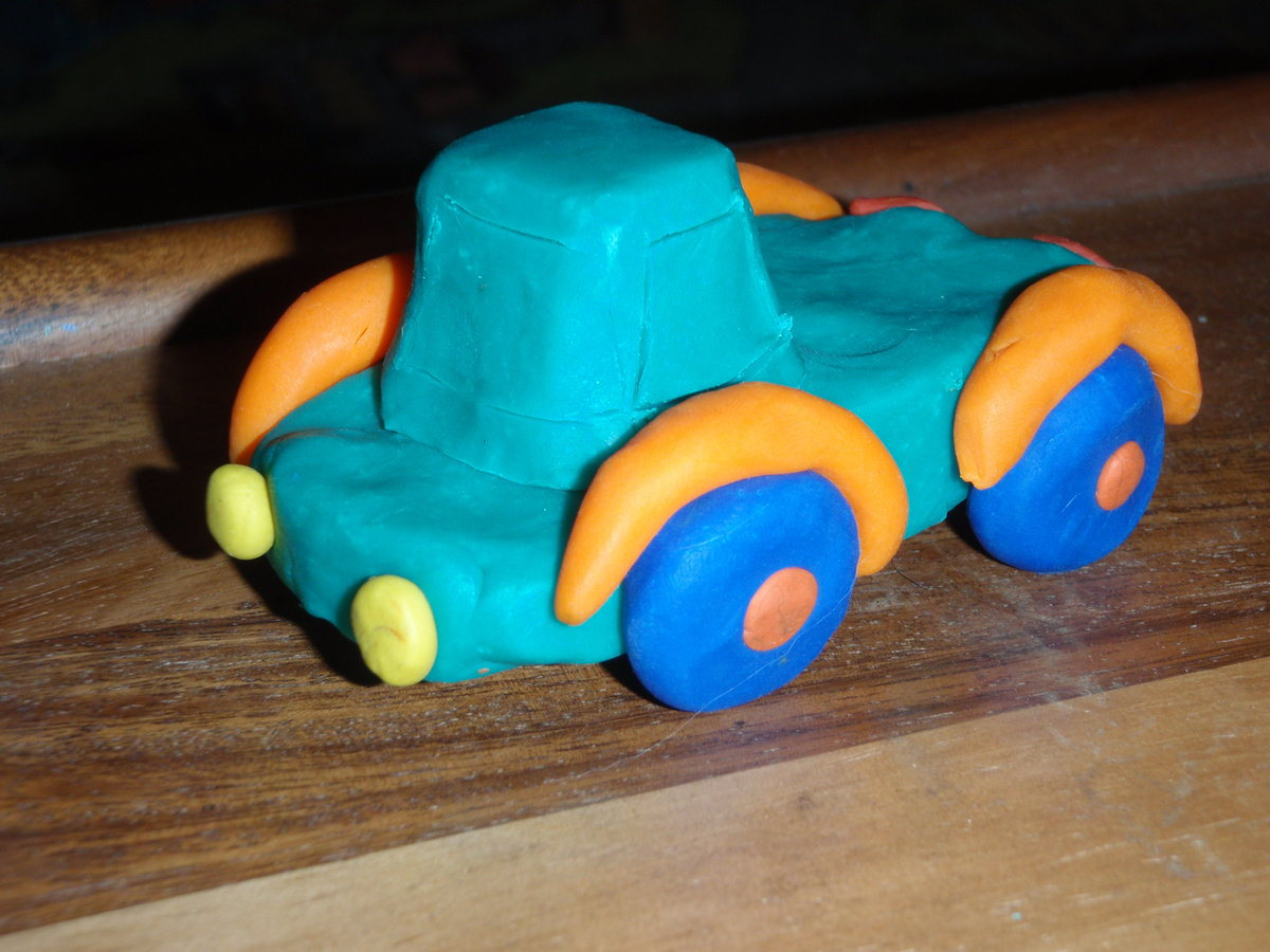 Машинки из пластилина. поделки