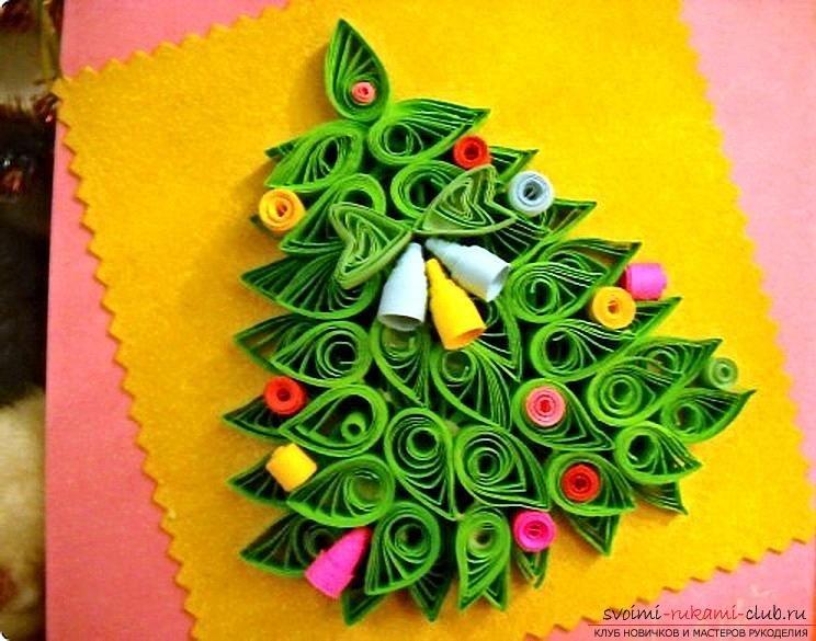 Новогодняя открытка из квиллинга своими руками, Идейник - новогодние и рождественские открытки. Квиллинг, Как сделать простой но