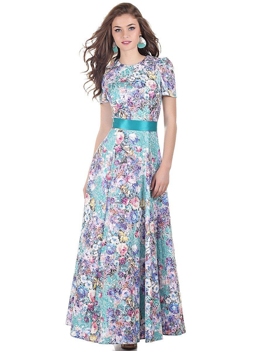 Длинное летнее платье с рукавом