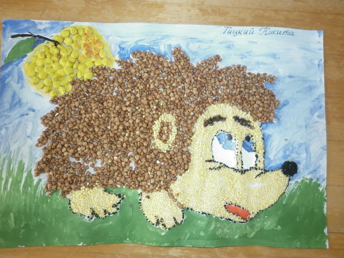 Осенние поделки из крупы для детского сада 82