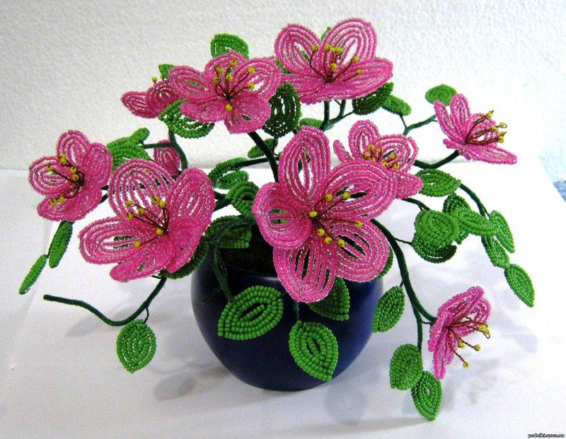 Фото цветы из бисера схемы
