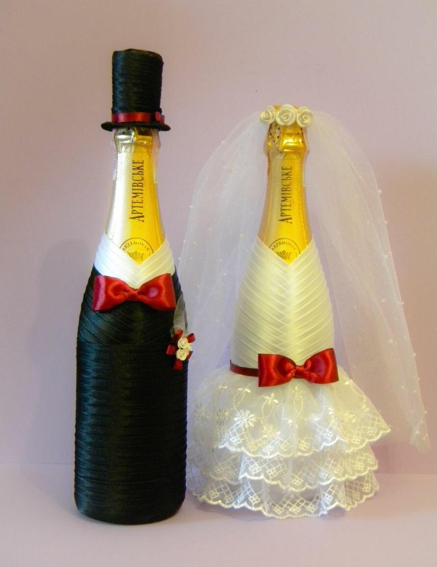 Как сделать свадебные бутылки лентами 568