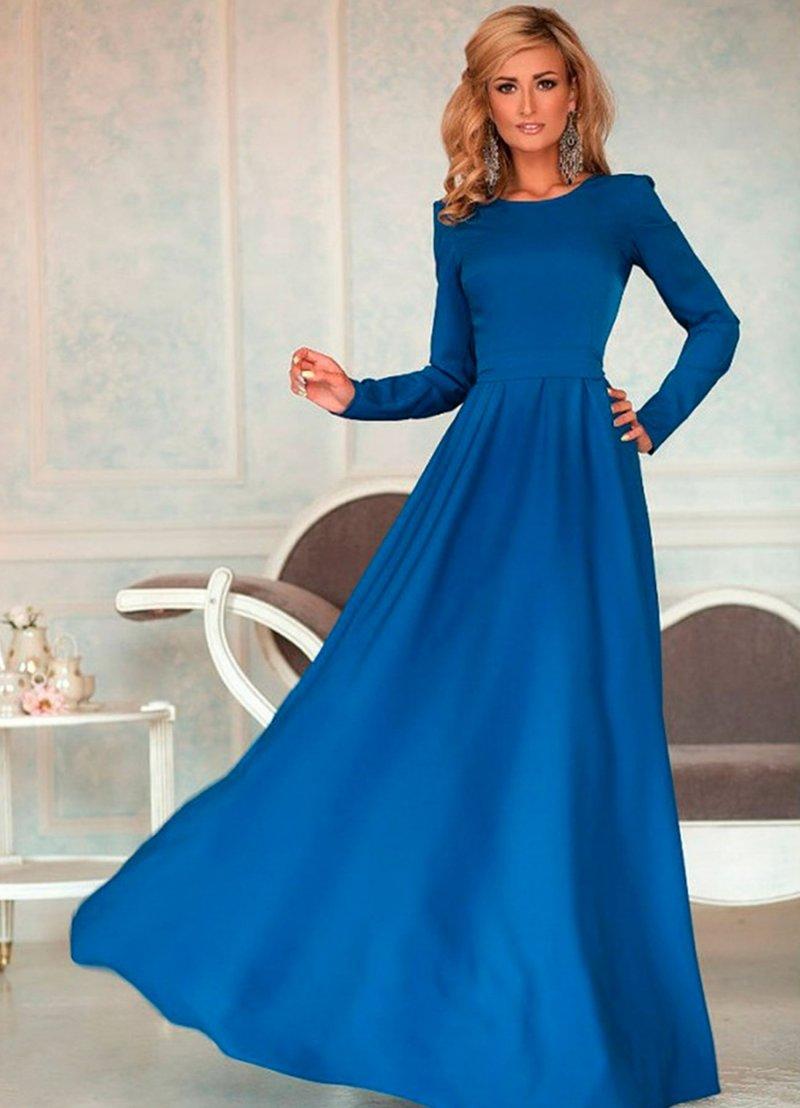 Простое платье в пол с длинным рукавом своими руками