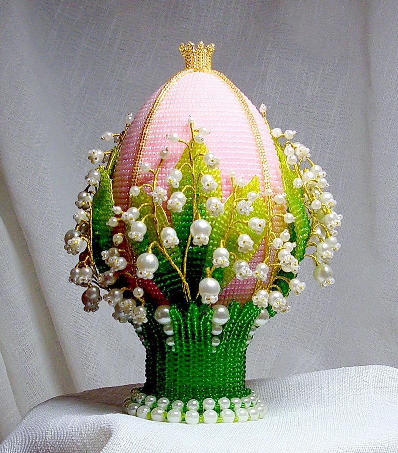 Пасхальное яйцо с ландышами из бисера мастер класс с пошаговым фото