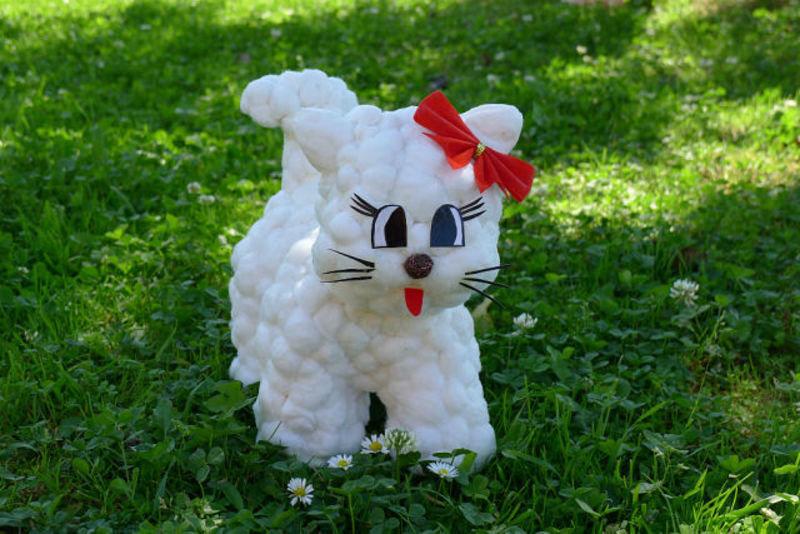 Поделка кошка из разных материалов 83