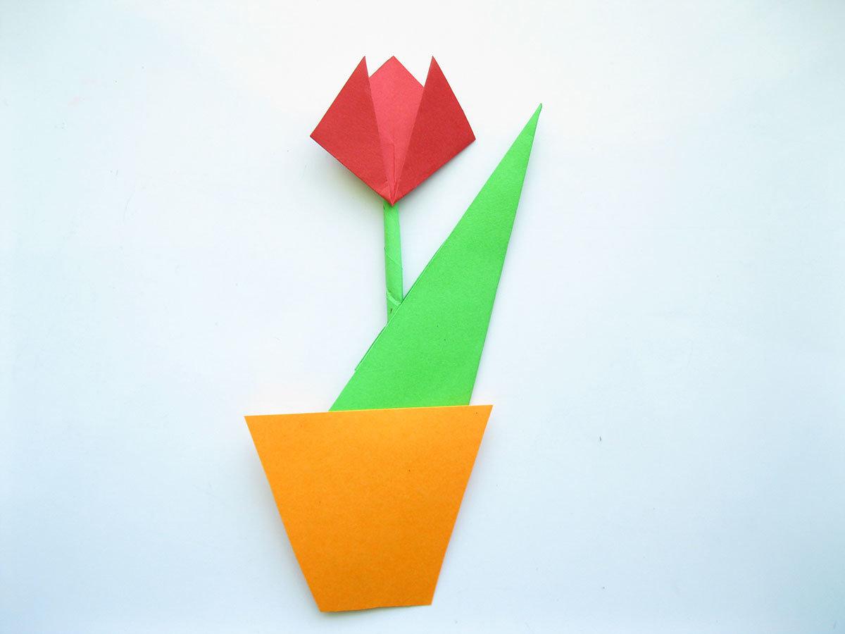 Как сделать тюльпан оригами маме к 8 марта? Схема 22