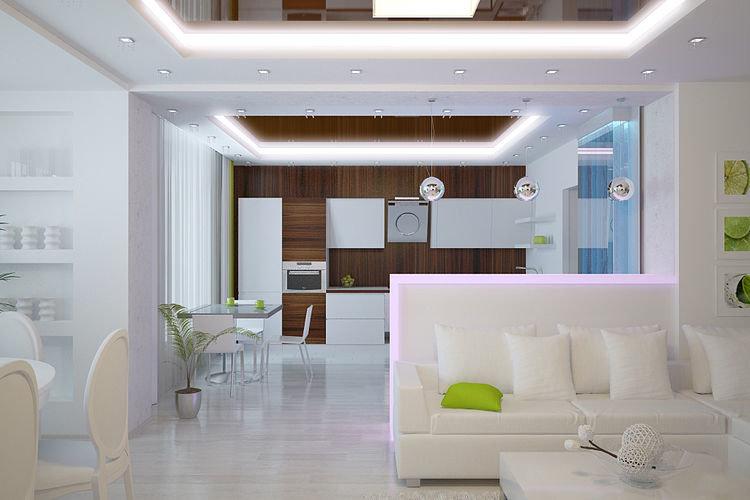 Дизайн белой кухни совмещенной с гостиной