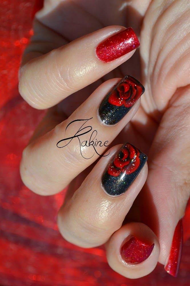 Чёрно красный дизайн ногтей